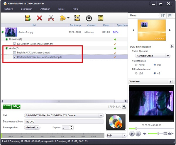 MPEG Datei auf DVD brennen/auf DVD-Player abspielen Anleitung